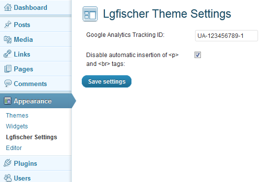Lgfischer Theme Settings